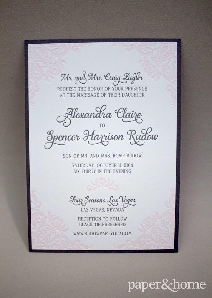 pink letterpress wedding invitations