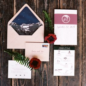 woodsy wedding invitations