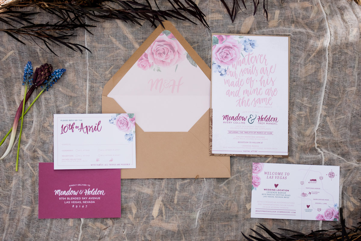 Pink boho wedding Invitations