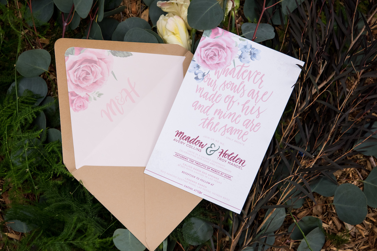 Hand Calligraphy Floral Envelope Liner