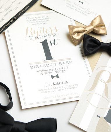 Dapper First Birthday Invitations