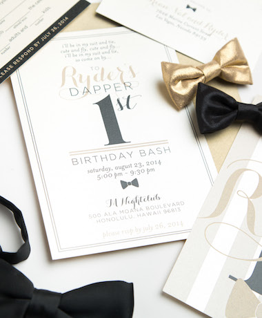 Dapper First Birthday Invitations