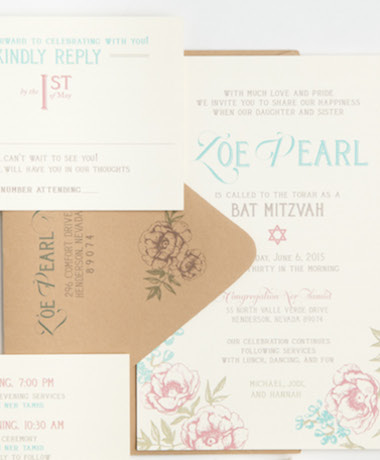 Floral Bat Mitzvah Invitations