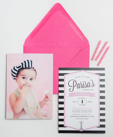 Paris First Birthday Invitations