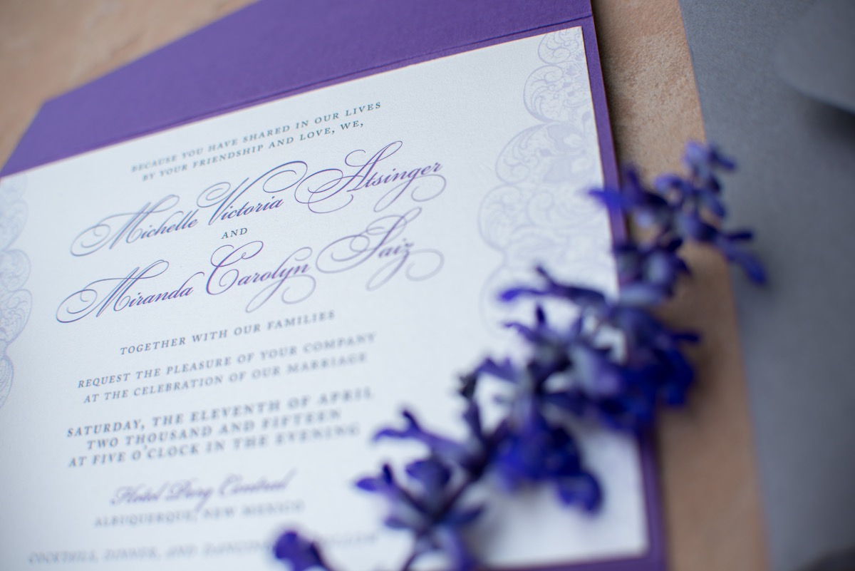 purple lace wedding invitation