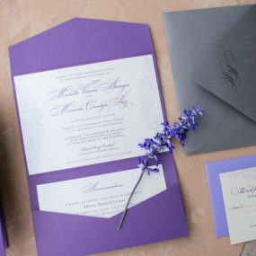 purple lace wedding invitations