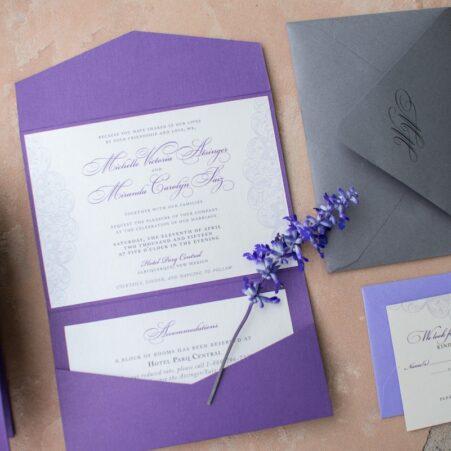 purple lace wedding invitations