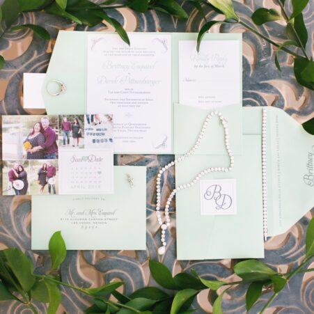 mint pocket wedding invitation