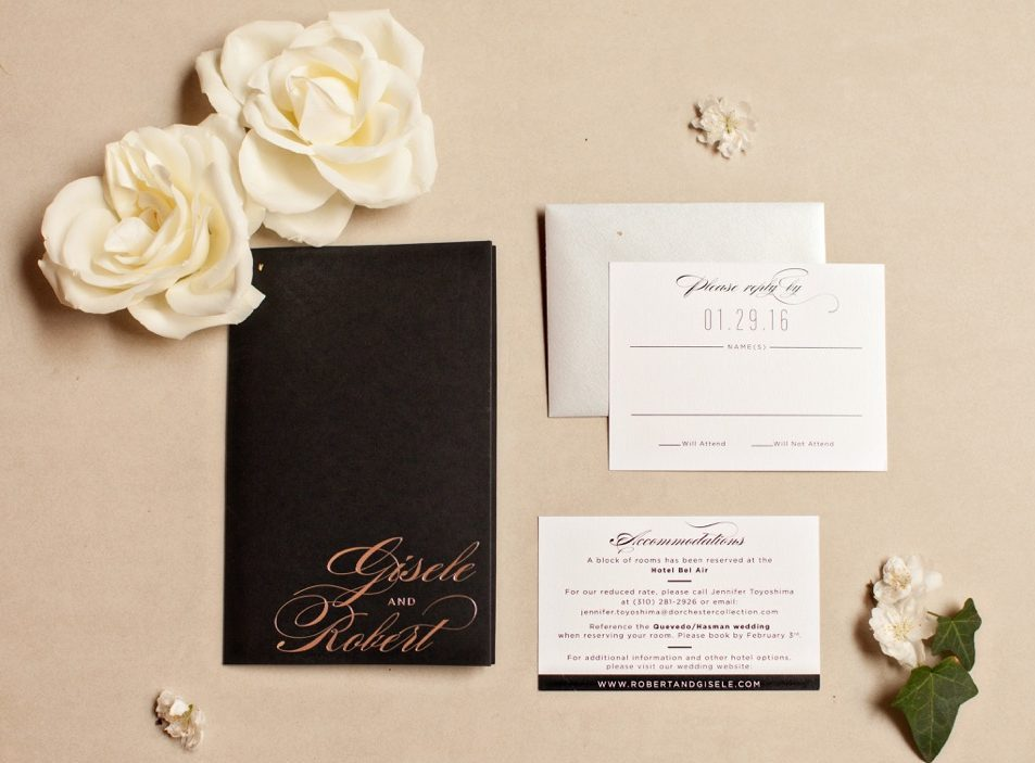 Luxurious Silver Foil Wedding Invitations