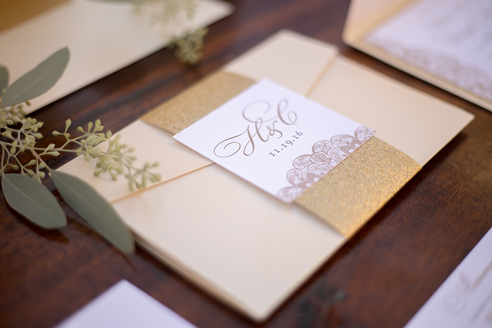 Gold, Lace, and Glitter Wedding Invitations