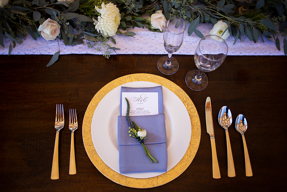 monogram menu card