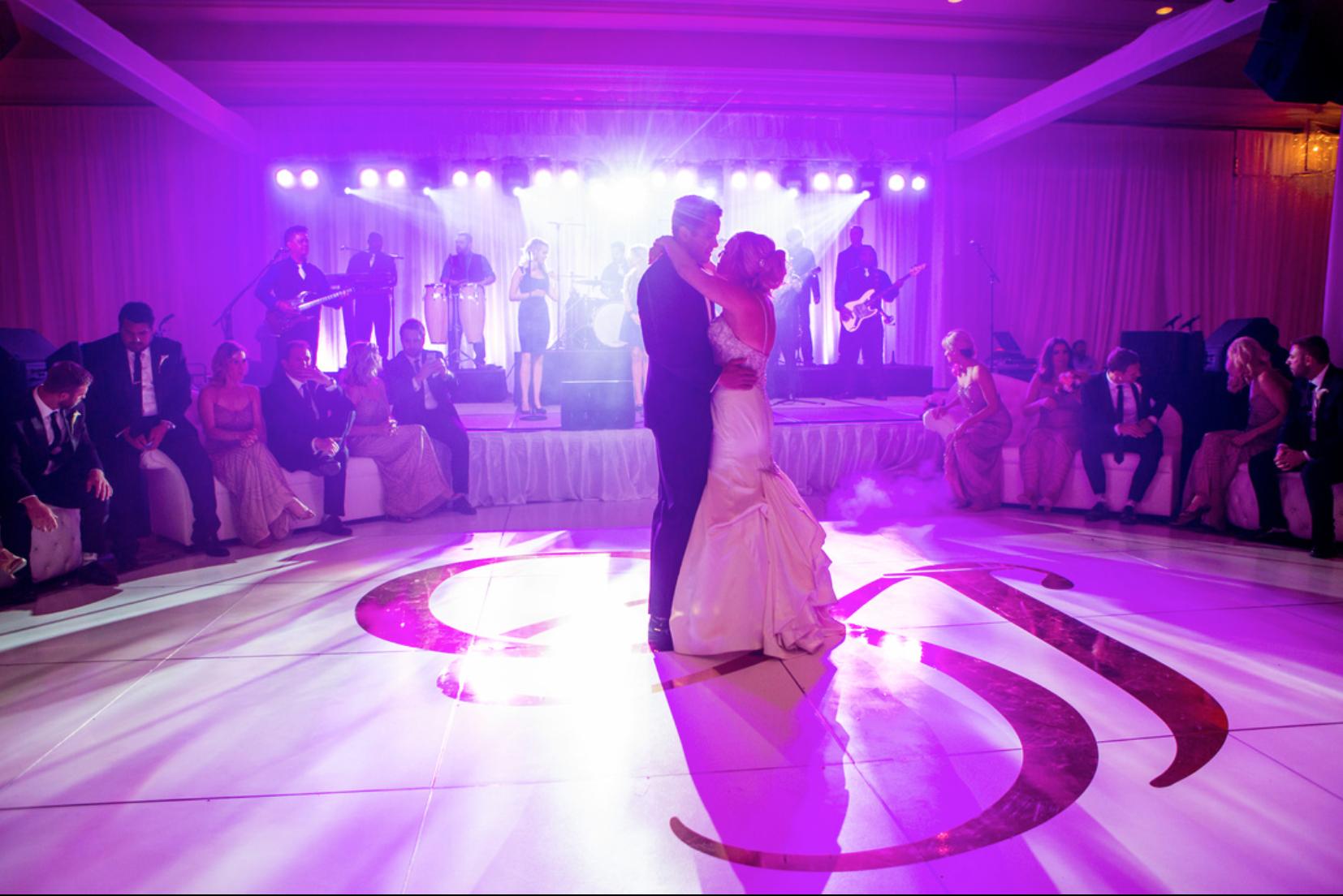 Gobo monogram dance floor